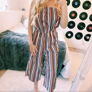 2 FOR 30 🌟 BLUSH STRIPED CROPPED JUMP SUIT